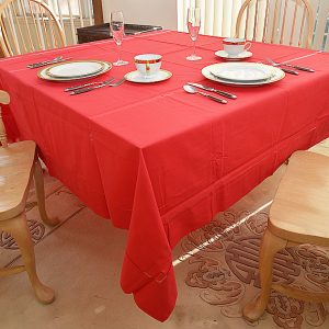 Red Festive 90″ Square Tablecloth.