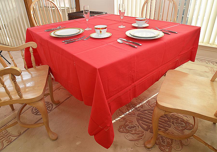 "Festive 90"" Square Tablecloth, Red color 90"" square tablecloth, Large Square tablecloth, Red Festive square tablecloth"