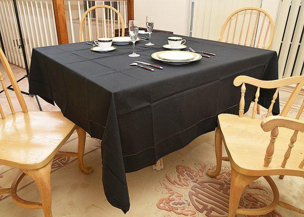 "Festive Square tablecloth. 70"" square. black square tablecloth"