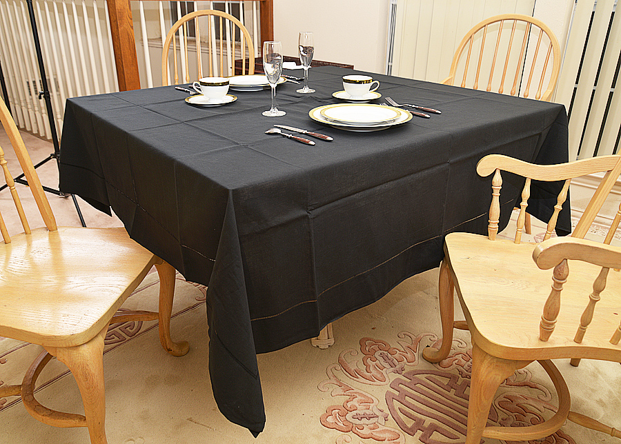 "Festive Square tablecloth. 70"" square. black square tablecloth"