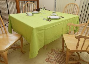 "70""square tablecloth. Bright Green color"