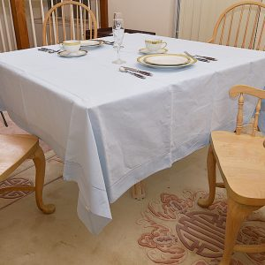 festive 70 inches square tablecloth, baby blue color