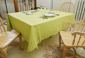 70 inches square tablecloth. celery green color.