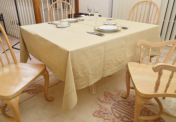 "Hemstitch Festive Safari (Taupe) color 70""square tablecloth."