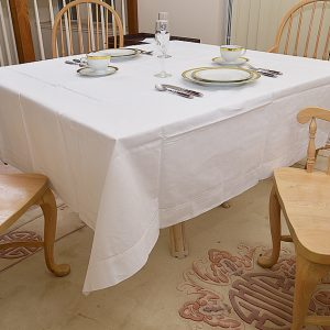 White 70″Square tablecloth. Hemstitched