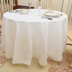 White 90″RD.Tablecloth. Polka Dots. Hemstitch