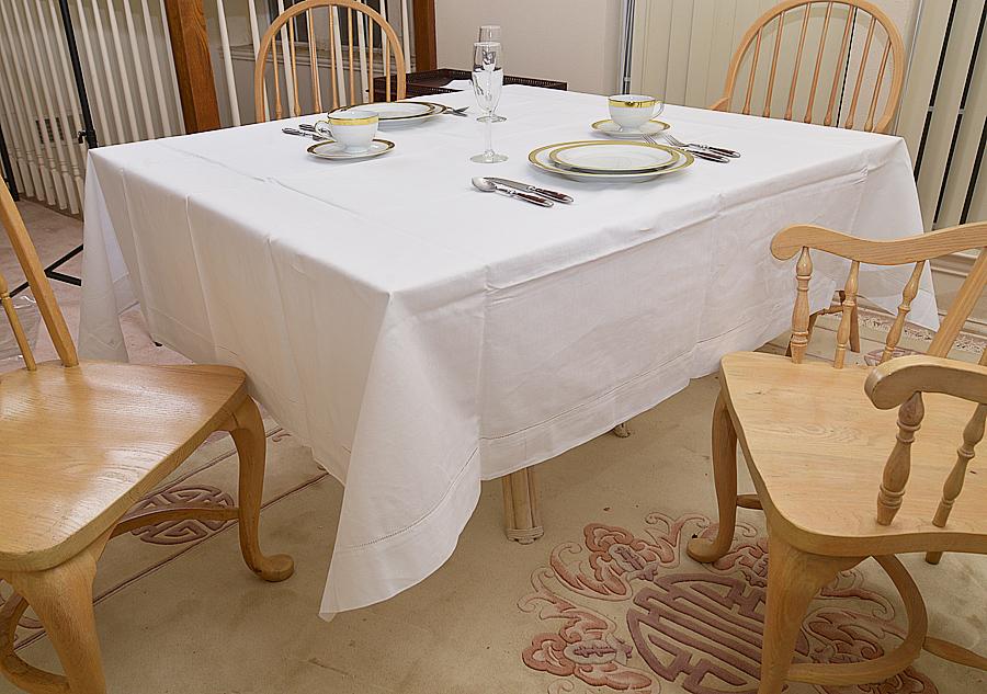"""Festive 90"""" square tablecloth, white color 90x90"""" square. 90""""square hemstitch square tablecloth"""